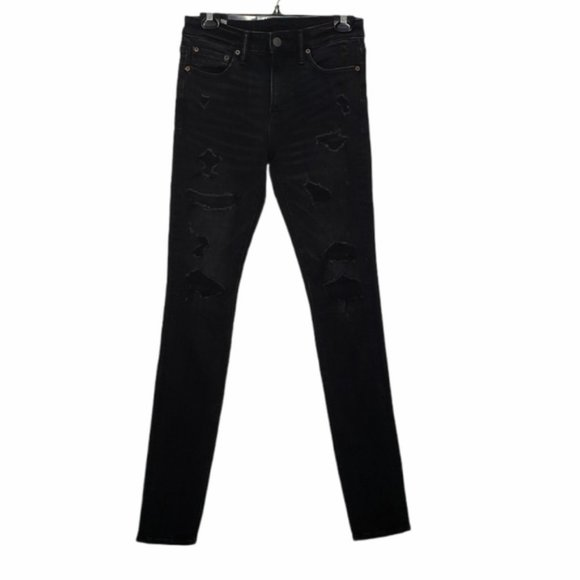 AEO X YOUNG MONEY black stacked skinny jean 29